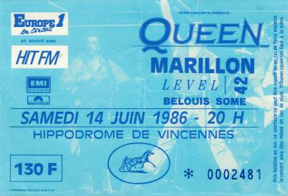 Ticket stub - Queen live at the Hippodrome de Vincennes, Paris, France [14.06.1986]
