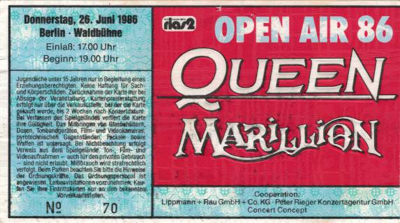 Ticket stub - Queen live at the Waldbühne, Berlin, Germany [26.06.1986]