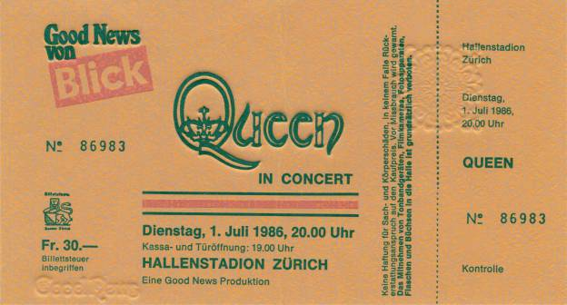 Ticket stub - Queen live at the Hallenstadion, Zurich, Switzerland [01.07.1986]