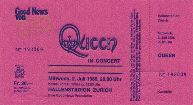 Ticket stub - Queen live at the Hallenstadion, Zurich, Switzerland [02.07.1986]