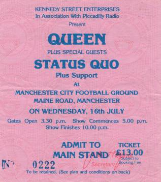 Ticket stub - Queen live at the Maine Road, Manchester, UK [16.07.1986]