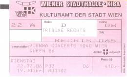 Ticket stub - Queen live at the Stadthalle, Vienna, Austria [22.07.1986]
