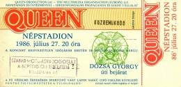 Ticket stub - Queen live at the Nepstadion, Budapest, Hungary [27.07.1986]