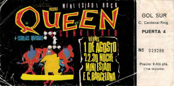 Ticket stub - Queen live at the Mini Estadi, Barcelona, Spain [01.08.1986]