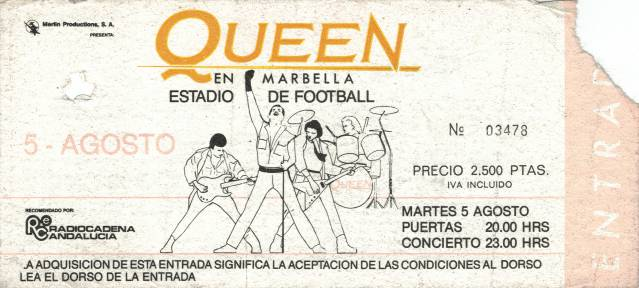 Ticket stub - Queen live at the Estadio Municipal, Marbella, Spain [05.08.1986]