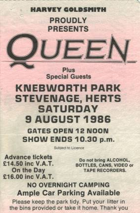 Ticket stub - Queen live at the Knebworth Park, Stevenage, UK [09.08.1986]