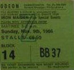 Ticket stub - Brian May live at the Hammersmith Odeon, London, UK (with Bad News & Jimmy Page) [09.11.1986]