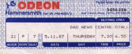 Ticket stub - Brian May live at the Hammersmith Odeon, London, UK (with Bad News) [05.11.1987]