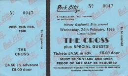 Ticket stub - The Cross live at the Rock City, Nottingham, UK [24.02.1988]