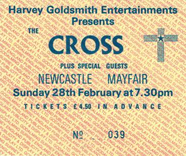 Ticket stub - The Cross live at the The Mayfair, Newcastle, UK [28.02.1988]