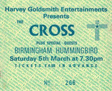 Ticket stub - The Cross live at the The Hummingbird, Birmingham, UK [05.03.1988]
