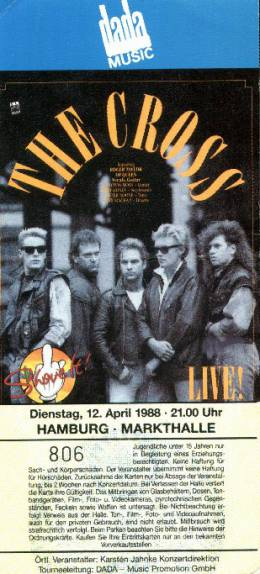 Ticket stub - The Cross live at the Markthalle, Hamburg, Germany [12.04.1988]