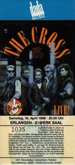 Ticket stub - The Cross live at the E-Werk, Erlangen, Germany [16.04.1988]