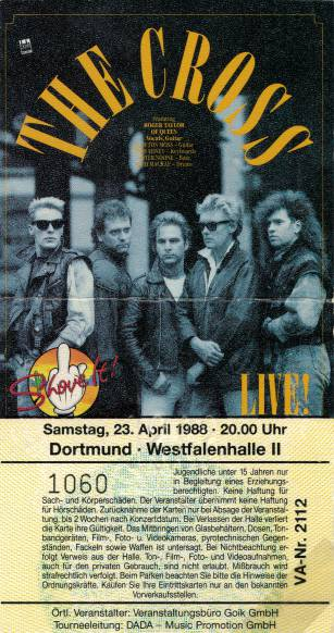 Ticket stub - The Cross live at the Westfallenhalle II, Dortmund, Germany [23.04.1988]