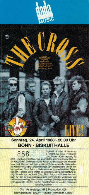 Ticket stub - The Cross live at the Biskuithalle, Bonn, Germany [24.04.1988]