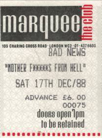 Ticket stub - Brian May live at the The Marquee Club, London, UK (with Bad News and Jeff Beck) [17.12.1988]