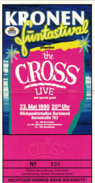 Ticket stub - The Cross live at the Blickpunktstudios, Dortmund, Germany [23.05.1990]