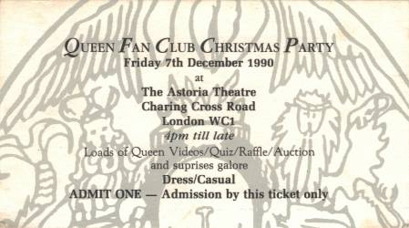 Ticket stub - The Cross + Brian May live at the Astoria Theatre, London, UK (Fan club Xmas party with Brian) [07.12.1990]