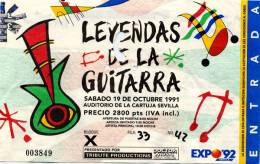 Ticket stub - Brian May live at the Auditorio de la Cartuja, Sevilla, Spain (Expo '92 Guitar festival) [19.10.1991]