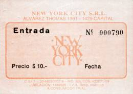 Ticket stub - Brian May live at the New York Disco, Buenos Aires, Argentina [01.11.1992]