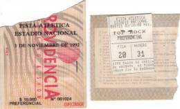 Ticket stub - Brian May live at the Pista Atlética del Estadio Nacional, Santiago De Chile, Chile [03.11.1992]