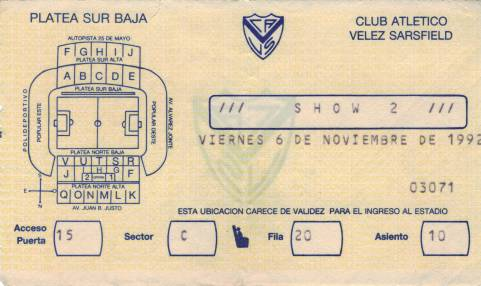 Ticket stub - Brian May live at the Estadio José Amalfitani de Velez Sarsfield, Buenos Aires, Argentina [06.11.1992]