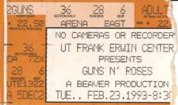 Ticket stub - Brian May live at the Frank Erwin Centre, Austin, TX, USA [23.02.1993]
