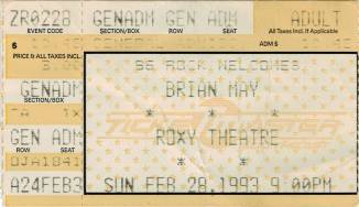 Ticket stub - Brian May live at the Roxy Theatre, Atlanta, GA, USA [28.02.1993]