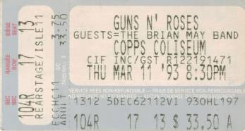 Ticket stub - Brian May live at the Copps Coliseum, Hamilton, Canada [12.03.1993]
