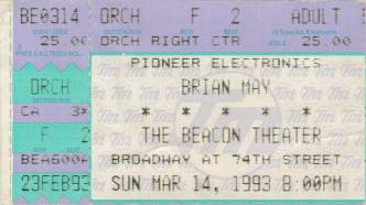 Ticket stub - Brian May live at the Beacon Theatre, New York, NY, USA [14.03.1993]