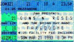 Ticket stub - Brian May live at the Fargodome, Fargo, ND, USA [21.03.1993]