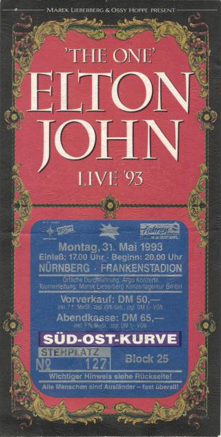 Ticket stub - Brian May live at the Franken Stadion, Nuremberg, Germany [31.05.1993]