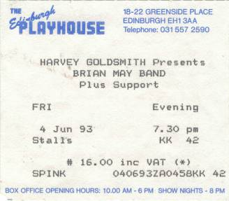 Ticket stub - Brian May live at the Playhouse Theatre, Edinburgh, UK [04.06.1993]
