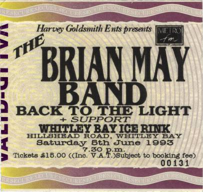 Ticket stub - Brian May live at the Whitley Bay Ice Rink, Whitley Bay, UK [05.06.1993]