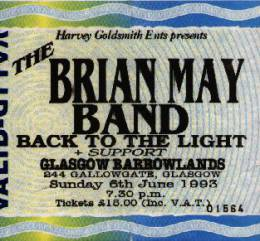 Ticket stub - Brian May live at the Glasgow Barrowlands, Glasgow, UK [06.06.1993]