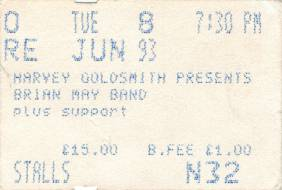 Ticket stub - Brian May live at the Apollo Theatre, Manchester, UK [08.06.1993]