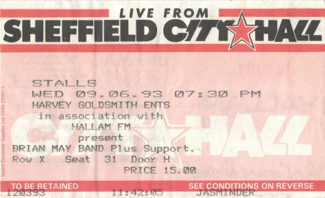 Ticket stub - Brian May live at the City Hall, Sheffield, UK [09.06.1993]