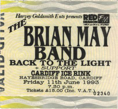 Ticket stub - Brian May live at the Cardiff Ice Rink, Cardiff, UK [11.06.1993]