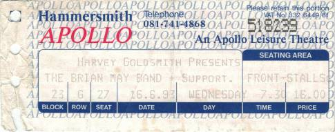 Ticket stub - Brian May live at the Hammersmith Apollo, London, UK [16.06.1993]