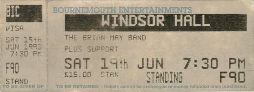 Ticket stub - Brian May live at the Windsor Hall, Bournemouth, UK [19.06.1993]