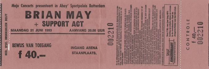 Ticket stub - Brian May live at the Ahoy Hall, Rotterdam, The Netherlands [21.06.1993]
