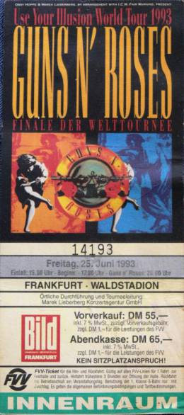 Ticket stub - Brian May live at the Waldstadion, Frankfurt, Germany [25.06.1993]