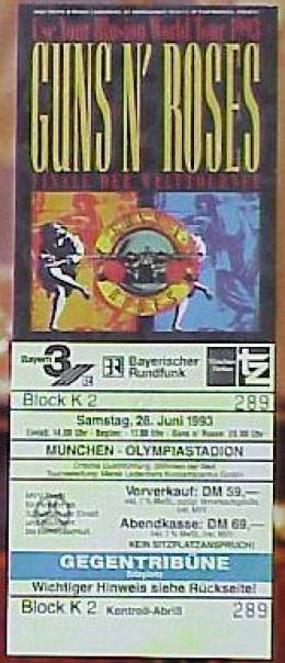 Ticket stub - Brian May live at the Olympiastadion, Munich, Germany [26.06.1993]