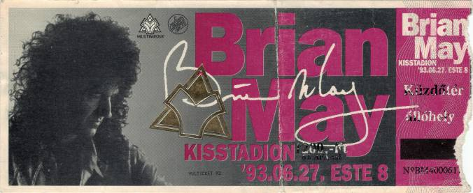 Ticket stub - Brian May live at the Kisstadion, Budapest, Hungary [27.06.1993]