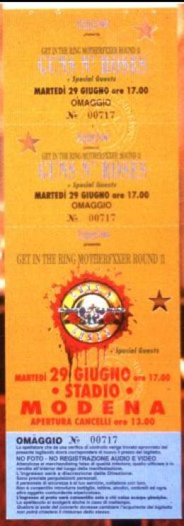 Ticket stub - Brian May live at the Stadio Bradioa, Modena, Italy [29.06.1993]