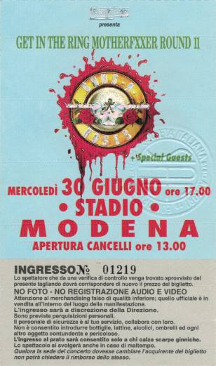Ticket stub - Brian May live at the Stadio Bradioa, Modena, Italy [30.06.1993]