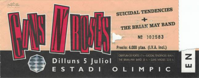 Ticket stub - Brian May live at the Estadi Olimpic, Barcelona, Spain [05.07.1993]
