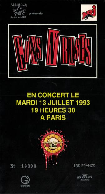 Ticket stub - Brian May live at the Palais Omnisports de Bercy, Paris, France [13.07.1993]