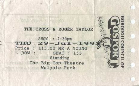 Ticket stub - The Cross live at the Walpole Park, Gosport, UK (Gosport festival) [29.07.1993]