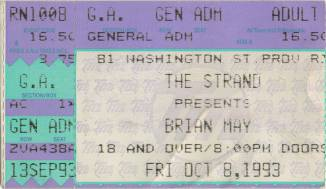 Ticket stub - Brian May live at the The Strand, Providence, RI, USA [08.10.1993]